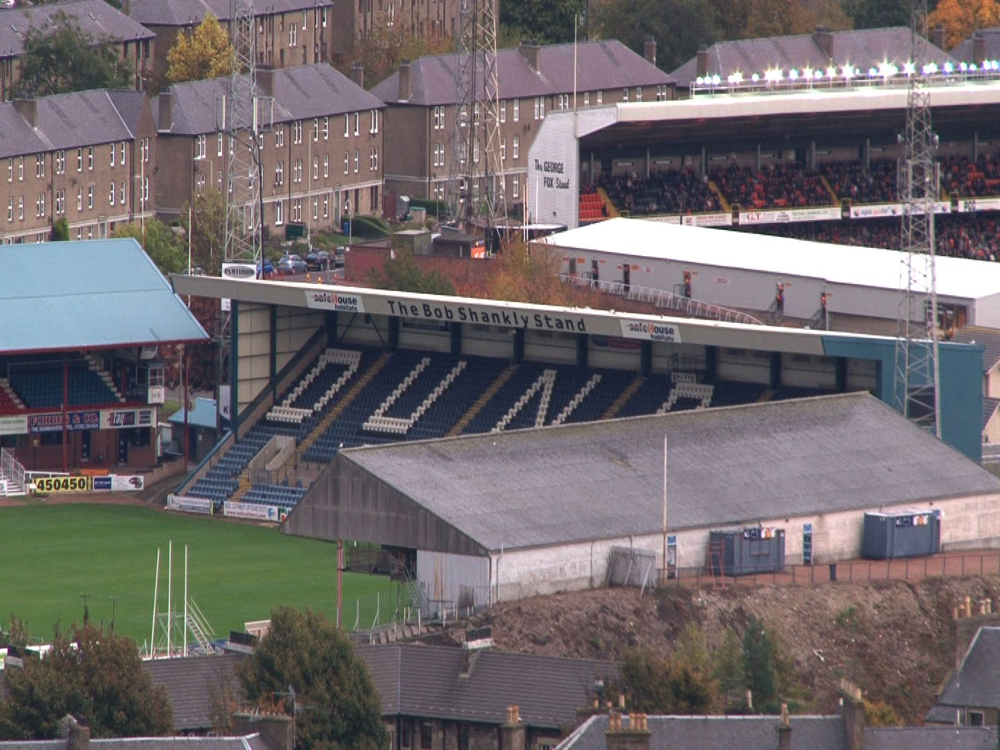 view of Dundee FC from hill
